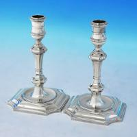 B2406:  Sterling Silver Pair Of Candlesticks - J. C. Lowe Hallmarked In 1962 London - Elizabeth II - Image 1