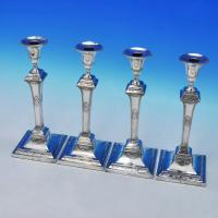 B2422: Antique Sterling Silver Set Of Four Candlesticks - Luke Proctor & Co. Hallmarked In 1785 Sheffield - Georgian - Image 1
