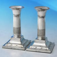 B2479: Antique Sterling Silver Pair Of Candlesticks - William Hutton Hallmarked In 1896 London - Victorian - Image 1