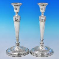 B2677: Antique Sterling Silver Candlesticks - John Waterhouse Hallmarked In 1782 Sheffield - Georgian - Image 1