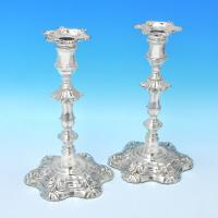 B3018: Antique Sterling Silver Pair Of Candlesticks - Kirby Waterhouse & Co. Hallmarked In 1828 Sheffield - Georgian - Image 1