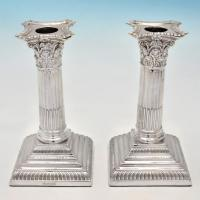 B4429b:  Sterling Silver Candlesticks - William Hutton Hallmarked In 1914 Sheffield - George V - Image 1