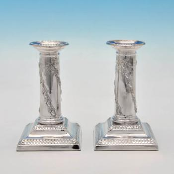 B4453: Antique Sterling Silver Candlesticks - Turner Bradbury Hallmarked In 1896 London - Victorian - Image 1
