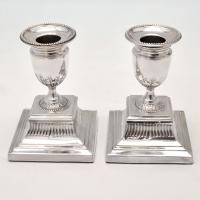 B4512: Antique Sterling Silver Candlesticks - Thomas Balliston Hallmarked In 1891 London - Victorian - Image 1