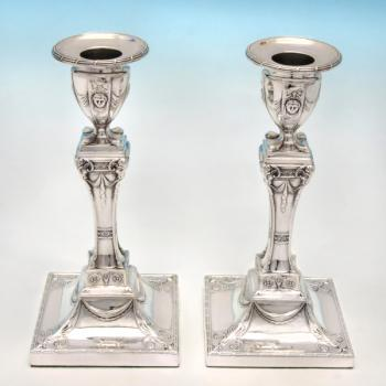 B4527p: Antique Sterling Silver Candlesticks - Turner Bradbury Hallmarked In 1907 Sheffield - Edwardian - Image 1