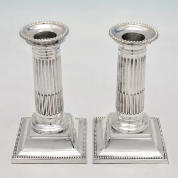B4580: Antique Sterling Silver Pair Of Candlesticks - Martin Hall & Co. Hallmarked In 1885 London - Victorian - Image 1