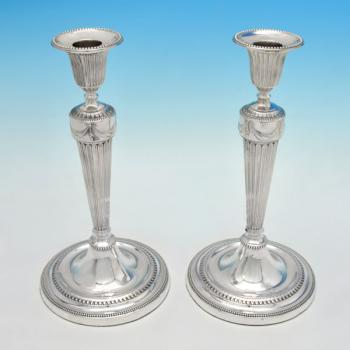 B4875: Antique Sterling Silver Pair Of Candlesticks - John Winter & Co. Hallmarked In 1781 Sheffield - Georgian - Image 5