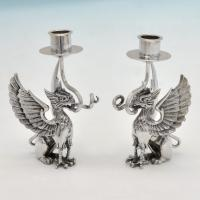 B4889:  Sterling Silver Pair Of Candlesticks - Unknown Hallmarked In 1970 London - Elizabeth II - Image 1