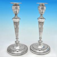 B4984: Antique Sterling Silver Pair Of Candlesticks - Thomas Lamborn Hallmarked In 1792 Sheffield - Georgian - Image 1