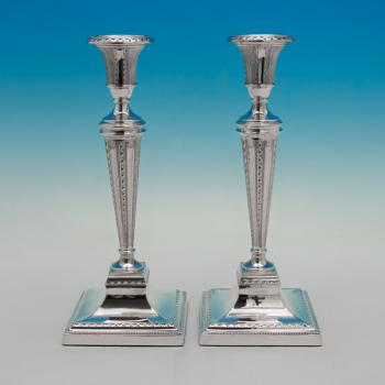 B5173: Antique Sterling Silver Pair Of Candlesticks - Turner Bradbury Hallmarked In 1893 London - Victorian - Image 1