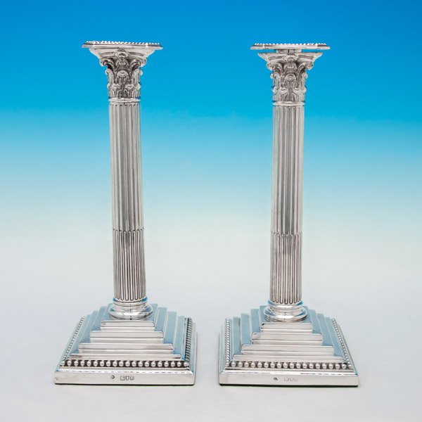 B5475: Antique Sterling Silver Pair Of Candlesticks - William Hutton Hallmarked In 1900 London - Victorian - Image 1