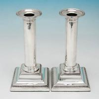 B5614:  Sterling Silver Candlesticks - Hawksworth Eyres & Co Hallmarked In 1917 Sheffield - George V - Image 1