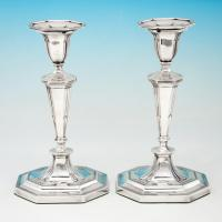 B5864: Antique Sterling Silver Pair Of Candlesticks - George Hancock Hallmarked In 1902 Sheffield - Edwardian - Image 1