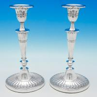 B5926: Antique Sterling Silver Pair Of Candlesticks - William Hutton & Sons Hallmarked In 1910 London - Edwardian - Image 1