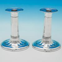 B5939: Antique Sterling Silver Pair Of Candlesticks - George Hancock Hallmarked In 1909 Sheffield - Edwardian - Image 1
