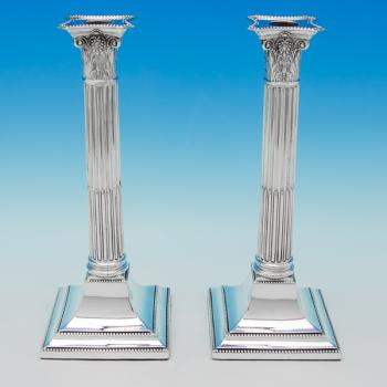 B5952:  Sterling Silver Pair Of Candlesticks - Henry Wilkinson Hallmarked In 1918 Sheffield - George V - Image 1