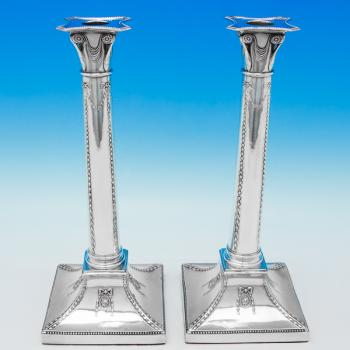 B5983: Antique Sterling Silver Pair Of Candlesticks - T. Bradbury & Sons Hallmarked In 1899 London - Victorian - Image 1