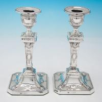 B6135: Antique Sterling Silver Candlesticks - Charles Boyton Hallmarked In 1902 London - Edwardian - Image 1