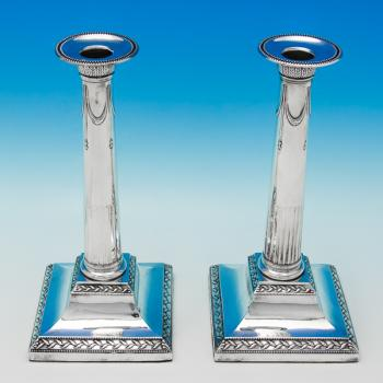 B6171: Antique Sterling Silver Pair Of Candlesticks - J. Parsons & Co. Hallmarked In 1790 Sheffield - Georgian - Image 1