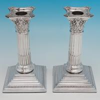 B6323: Antique Sterling Silver Candlesticks - William Charles Fordham & Albert Faulkner Hallmarked In 1902 Sheffield - Edwardian