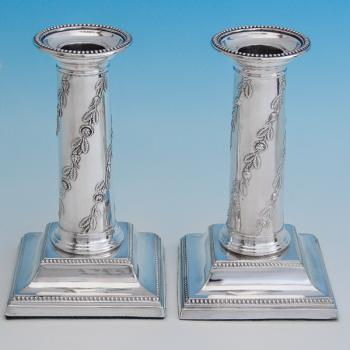 B6611: Antique Sterling Silver Candlesticks - Thomas Scott Hallmarked In 1900 Sheffield - Victorian - Image 1