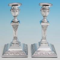 B6612: Antique Sterling Silver Candlesticks - William And Angus Fraser Hallmarked In 1904 Sheffield - Edwardian - Image 1