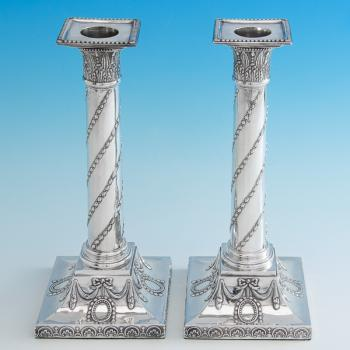 B6670: Antique Sterling Silver Candlesticks - John Winter & Co. Hallmarked In 1775 Sheffield - Georgian - Image 1