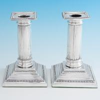 B6707: Antique Sterling Silver Candlesticks - John Troup Hallmarked In 1893 London - Victorian - Image 1