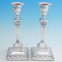 B6727: Antique Sterling Silver Candlesticks - Hawksworth Eyres & Co Hallmarked In 1904 Sheffield - Edwardian - Image 1