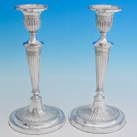 B6746: Antique Sterling Silver Candlesticks - William & Angus Fraser Hallmarked In 1901 Sheffield - Victorian - Image 1