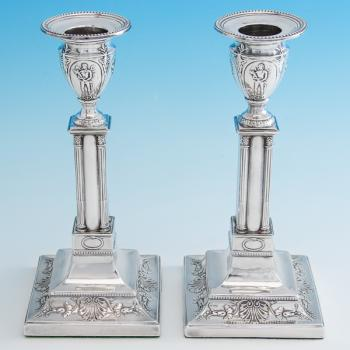 B6895: Antique Sterling Silver Candlesticks - Turner Bradbury Hallmarked In 1906 London - Edwardian - Image 1