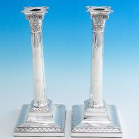 B6934: Antique Sterling Silver Candlesticks - D. & J. Wellby Hallmarked In 1900 London - Victorian - Image 1
