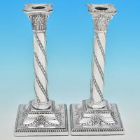 B7140: Antique Sterling Silver Pair Of Candlesticks - Hawksworth Eyres & Co Hallmarked In 1901 Sheffield - Victorian - Image 1