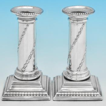 B7192: Antique Sterling Silver Candlesticks - John Hoyland Hallmarked In 1775 Sheffield - Georgian - Image 1