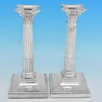 B7194:  Sterling Silver Pair Of Candlesticks - Bert Gordon Hallmarked In 1949 Birmingham - George VI - Image 1