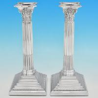 B7228: Antique Sterling Silver Pair Of Candlesticks - Henry Wilkinson & Co. Hallmarked In 1894 London - Victorian - Image 1