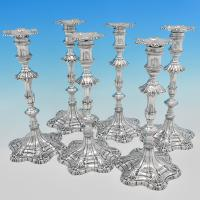 B7342: Antique Sterling Silver Candlesticks - Ebeneezer Coker Hallmarked In 1766 London - Georgian - Image 1