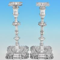 B7387: Antique Sterling Silver Candlesticks - William Cafe Hallmarked In 1760 London - Georgian - Image 1