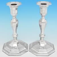 B7447: Antique Sterling Silver Candlesticks - Hawksworth Eyres & Co Hallmarked In 1913 Sheffield - George V - Image 1