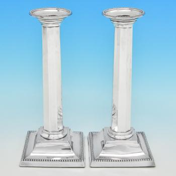 B7540: Antique Sterling Silver Pair Of Candlesticks - Fordham & Faulkner Hallmarked In 1910 Sheffield - Edwardian - Image 1