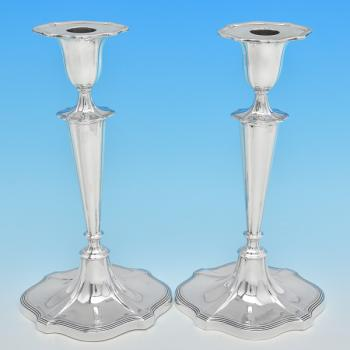 B8038: Antique Sterling Silver Candlesticks - Walker & Hall Hallmarked In 1910 Sheffield - Edwardian - Image 1