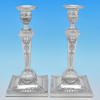 B8191: Antique Silver Plate Pair Of Candlesticks - T. Bradbury & Sons Made Circa 1900 Unknown - Victorian - Image 1