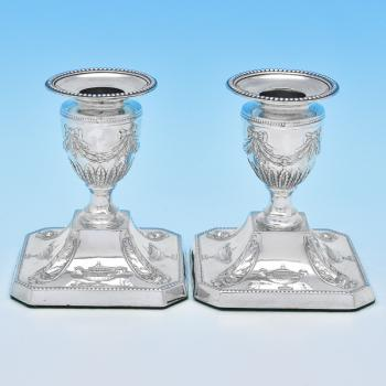 B8870: Antique Sterling Silver Pair Of Candlesticks - Charles Boyton Hallmarked In 1897 London - Victorian - Image 1