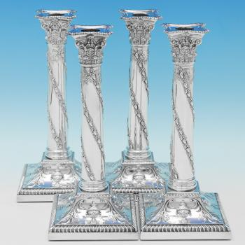 B9038: Antique Sterling Silver Candlesticks - T. Bradbury & Sons Hallmarked In 1906 London - Edwardian - Image 1