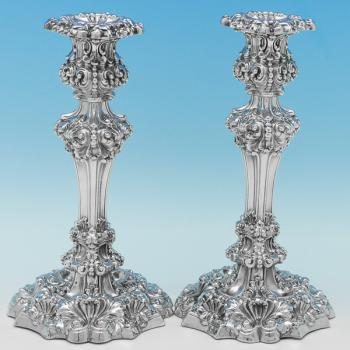 B9039: Antique Sterling Silver Candlesticks - S.C. Younge Hallmarked In 1821 Sheffield - Georgian - Image 1