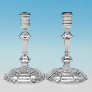 B9211: Antique Sterling Silver Candlesticks - Thomas Causton Hallmarked In 1731 London - Georgian - Image 1