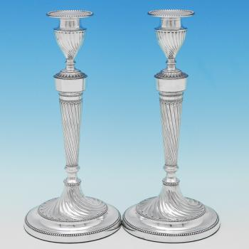 B9279: Antique Sterling Silver Candlesticks - Gibson & Langland Hallmarked In 1898 London - Victorian - Image 1