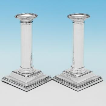 B9320: Antique Sterling Silver Candlesticks - Thomas Ascoff Hallmarked In 1905 Sheffield - Edwardian - Image 1