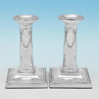 B9435: Antique Sterling Silver Candlesticks - Goldsmiths & Silversmiths Co. Hallmarked In 1903 London - Edwardian - Image 1