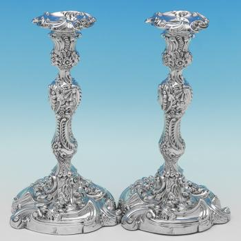 B9586: Antique Sterling Silver Candlesticks - Kirby Waterhouse & Co. Hallmarked In 1816 Sheffield - Georgian - Image 1